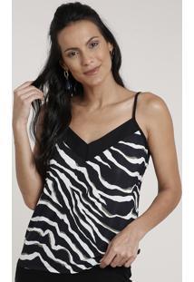 Regata Feminina Estampada Animal Print Zebra Com Recorte Alça Fina Decote V Preta