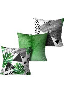 Kit 3 Capas Para Almofadas Decorativas Love Decor Abstrato Verde
