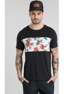 Camiseta Com Recorte Estampado Floral Preta