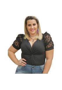 Body Summer Body Plus Size Manga Bufante Preto