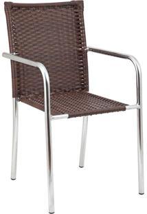 Cadeira Para Área Externa Maria Alumínio E Castanho