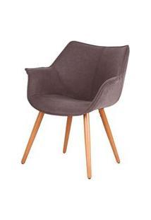 Cadeira Monique Assento Pu Marrom Escuro Com Base Palito - 45037 Preto
