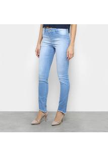 Calça Jeans Slim Morena Rosa Isabelli Cintura Média Feminina - Feminino-Azul Claro