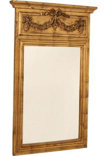 Espelho Decorativo Clássico Argentre De Parede Com Moldura De Madeira Dourada