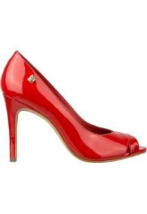 Sapato Peep Toe Loucos E Santos - Feminino-Vermelho