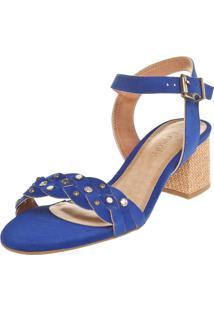 Sandália Crysalis Salto Baixo Azul