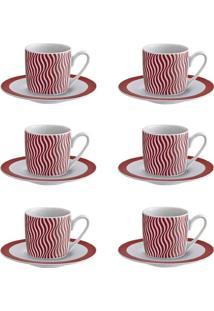 Conjunto 6 Xícaras Para Café Com Pires De Porcelana Wave 90 Ml