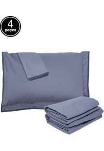 Jogo De Cama 4Pçs King Buddemeyer Confort Basic Azul
