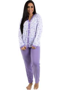 Pijama Longo Flores Linha Noite (182) Lilás