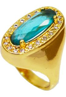 Anel La Madame Co Cristal Turquesa Banhado A Ouro 18K