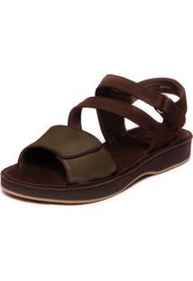 Sandália Confortável Em Couro - Sued Café / Floater Musgo 9114