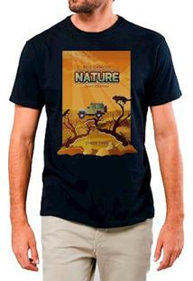 Camiseta Masculina Eco Canyon Nature Desert Preto