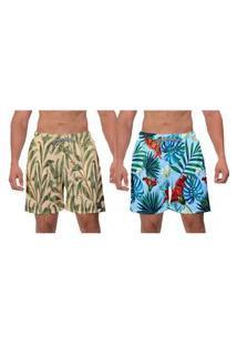 Kit 2 Shorts Moda Praia Floral Estampado Bege Primavera Azul Samambaia Masculino Esporte Banho Academia Esporte W2