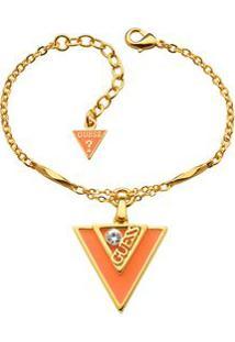 Pulseira Com Pingente De Triangulo- Dourada & Laranja
