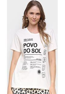 Camiseta Farm Povo Do Sol Feminina - Feminino-Off White