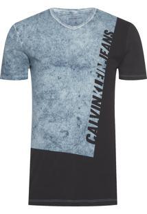 Camiseta Masculina Manga Curta Logo Diagonal - Preto E Azul