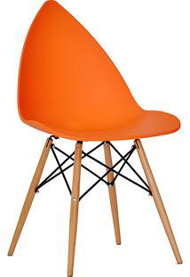 Cadeira P&W Plástico Pp E Base Em Madeira De Faia E Aço Laranja - Orb