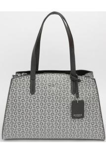 Bolsa Guessâ® Com Bag Charm- Cinza Claro & Preta- 25Xguess