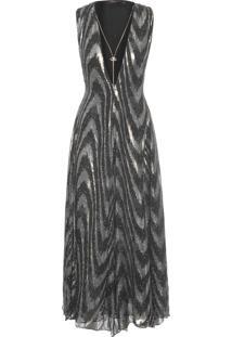 Vestido Midi Lurex - Preto