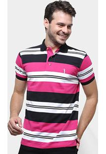 Camisa Polo Aleatory Listrada Masculina - Masculino-Pink+Branco