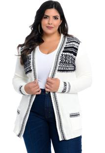Casaco Maxi Cardigan Dianna Plus Size Branco Étnico
