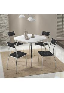Mesa 1504 Branca Cromada Com 4 Cadeiras 1701 Fantasia Preto Carraro