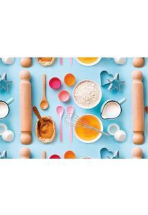 Tapete Cozinha- Azul Claro & Branco- 60X40Cm- Tatapetes Junior