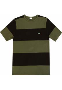 Camiseta Pau A Pique Listrada - Masculino-Musgo