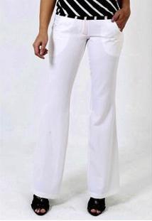 Calça Pantalona Crepe Com Bolsos Sob Feminina - Feminino-Branco