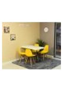 Conjunto De Mesa Dobrável Retrátil 120 X 75 Branca + 4 Cadeiras Eiffel - Amarela