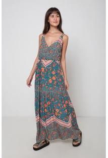Vestido Oh,Boy! Longo Floral Feminino - Feminino-Azul