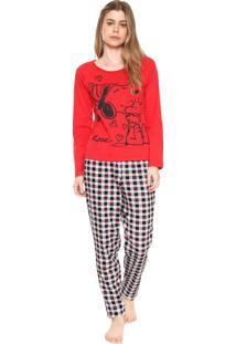 Pijama Snoopy Estampado Vermelho
