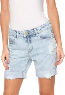Bermuda Jeans Lunender Destroyed Azul