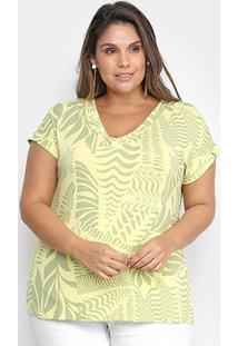 Blusa Habana Plus Size Básica Estampada Feminina - Feminino-Verde