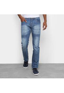 Calça Jeans Slim Rock Blue Estonada Masculina - Masculino-Jeans