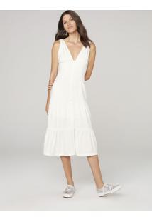 Vestido Midi Com Babado - Off White