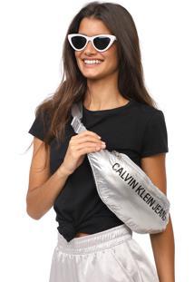 Pochete Calvin Klein Jeans Lettering Prata