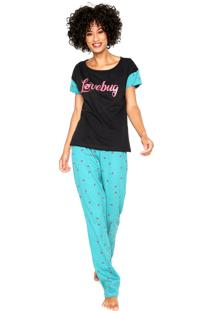 Pijama Hering Love Bug Preta/Verde