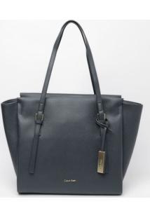 Bolsa Texturizada Com Tag- Azul Marinho- 31X32X12Cmcalvin Klein