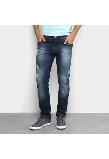 Calça Jeans Reta Colcci John Destroyed Masculina - Masculino-Jeans