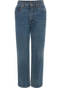 Alexander Mcqueen Calça Jeans Reta Cintura Alta - Azul