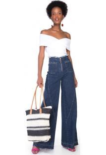 Calça Jeans Wide Leg Recortes
