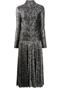 Victoria Victoria Beckham Metallic Draped-Body Dress - Azul