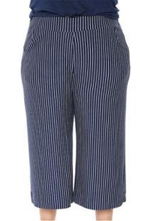 Calça Pantacourt Plus Size Moletinho Listrada Feminina - Feminino-Azul Escuro
