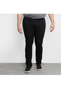 Calça Jeans Plus Size Masculina Tbt Jeans Puídos - Masculino-Preto
