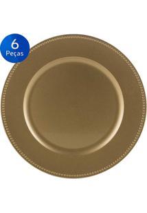 Jogo De 6 Sousplat Gold 33 Cm - Bon Gourmet - Dourado