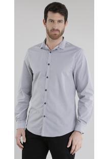Camisa Slim Estampada Geométrica Preta