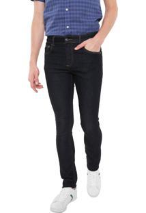 Calça Jeans Lacoste Slim Pespontos Azul-Marinho