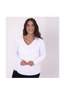 Camiseta Reta Feminina Gola V Manga Longa Super Branco