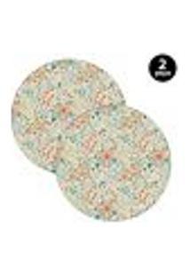 Sousplat Mdecore Floral 35X35Cm Bege 2Pçs